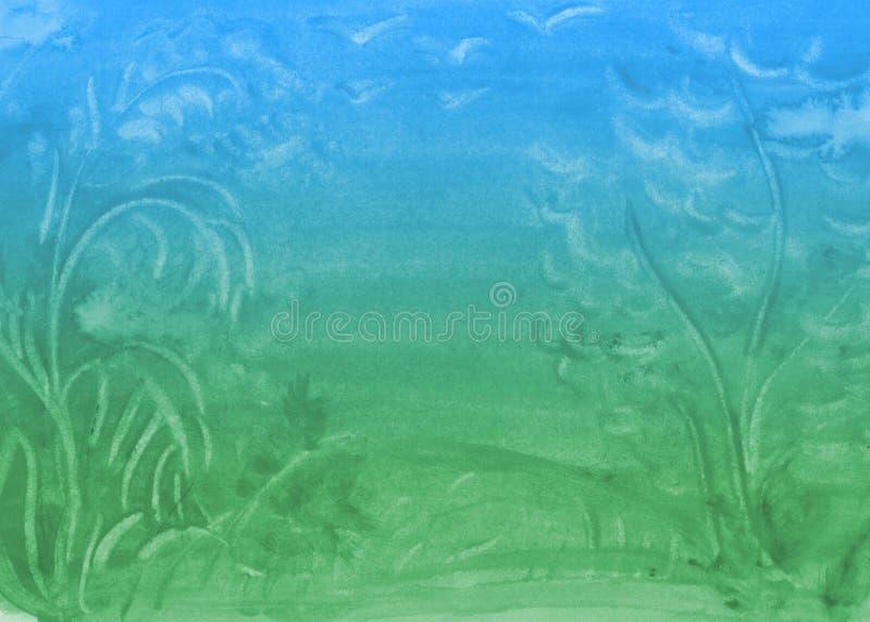 Fondo de la acuarela de la pendiente con las manchas libre illustration