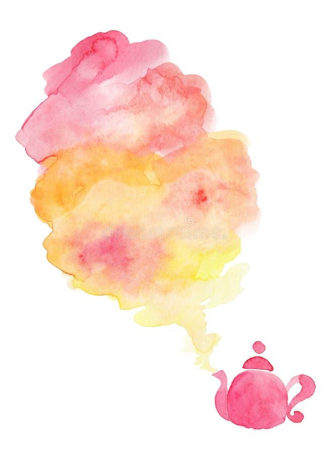 Fondo de la acuarela, rosa y tetera del punto amarillo libre illustration
