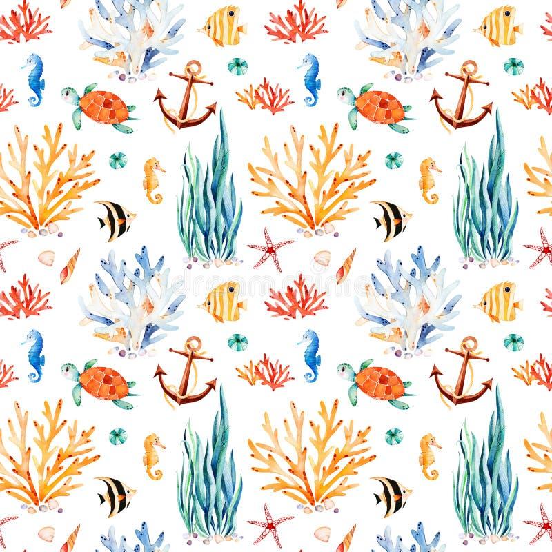 Fondo de la acuarela de Seaworld con la tortuga linda, seahorse, arrecife de coral, alga marina stock de ilustración