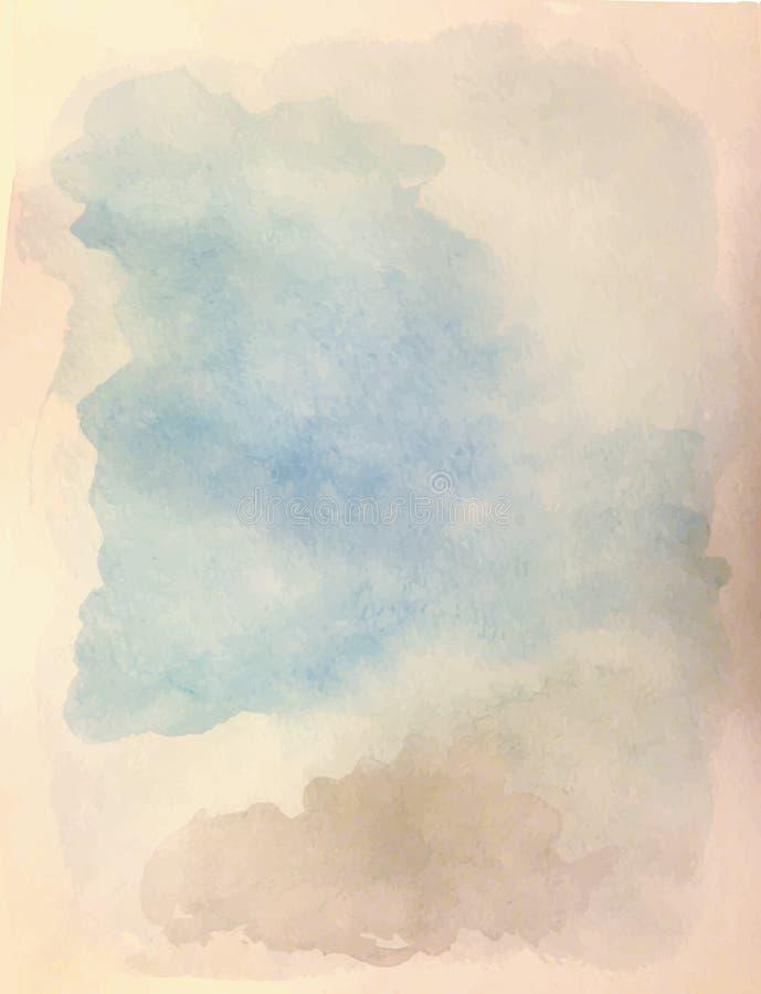 Fondo de la acuarela Sombras del cielo nublado stock de ilustración