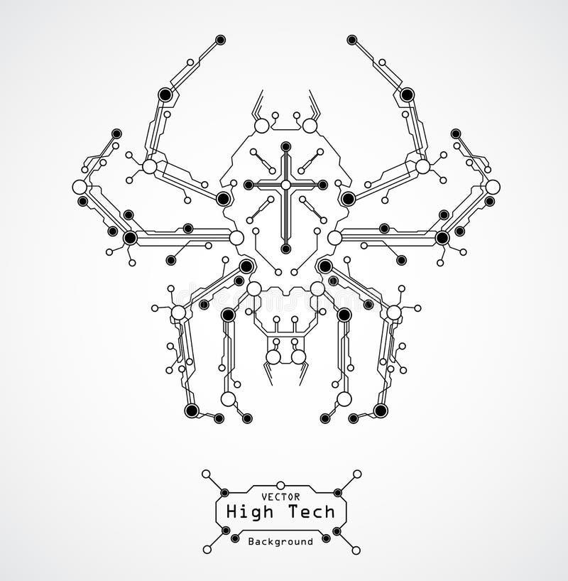 Fondo de la araña de la tarjeta de circuitos ilustración del vector
