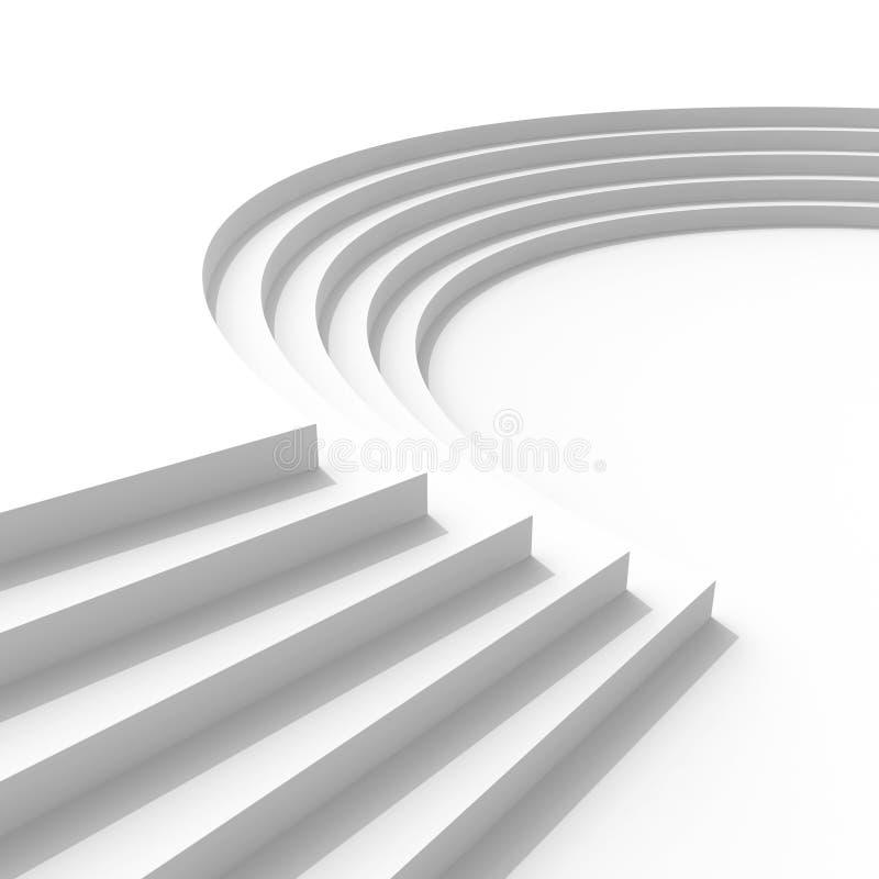 Fondo de la arquitectura con las escaleras curvadas stock de ilustración