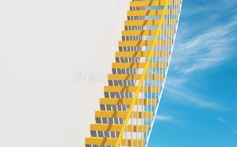 fondo de la arquitectura 3d, escaleras del metal amarillo ilustración del vector
