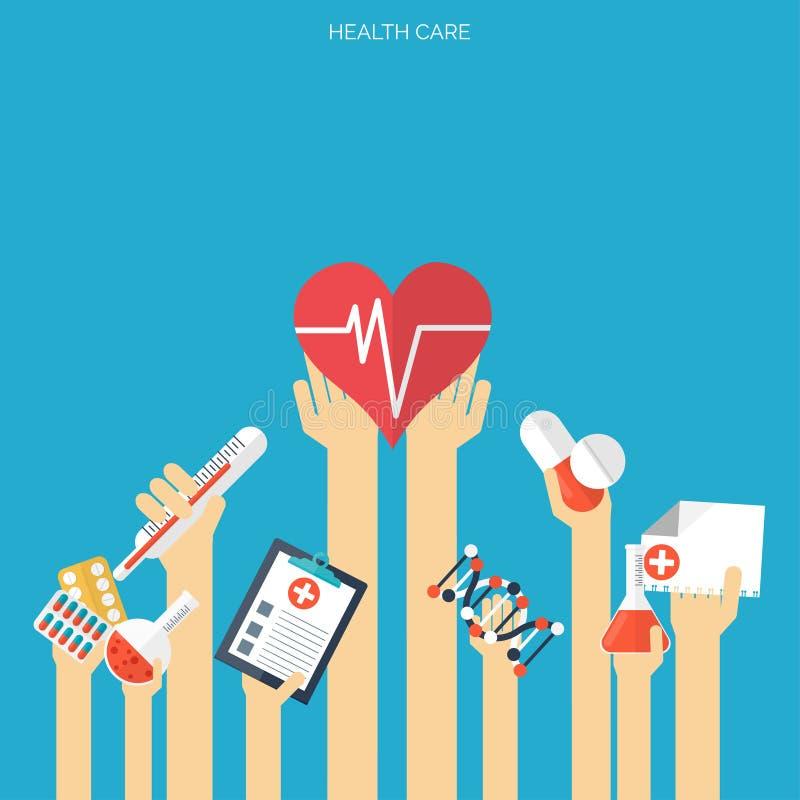 Fondo de la atención sanitaria plana y de la investigación médica Concepto de sistema sanitario Medicina e ingeniería química libre illustration