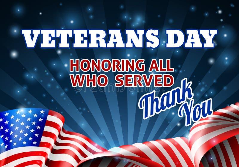 Fondo de la bandera americana del día de veteranos stock de ilustración