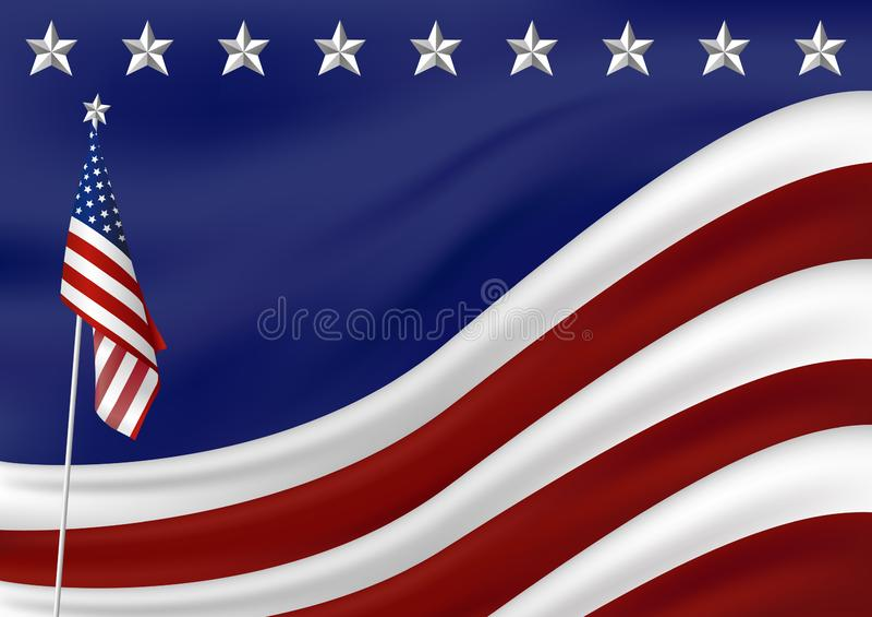 Fondo de la bandera americana para presidentes el ejemplo del vector del Día de la Independencia del 4 de julio libre illustration