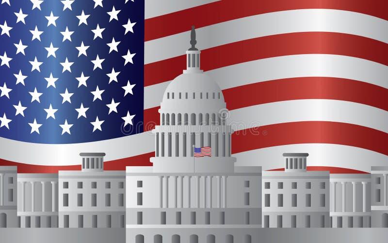 Fondo de la bandera de los E.E.U.U. del capitolio del Washington DC stock de ilustración
