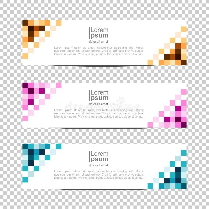 Fondo de la bandera Dise?o moderno de la plantilla pixel, bloque, fondo de la bandera del diseño del vector de la rejilla stock de ilustración