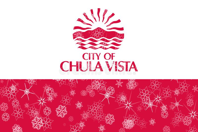 Fondo de la bandera de los copos de nieve del invierno de Chula Vista, California Los Estados Unidos de América libre illustration