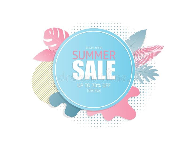 Fondo de la bandera de la venta del verano en el estilo cortado de papel Dise?o del ejemplo del vector cartel Aviador folleto ban stock de ilustración