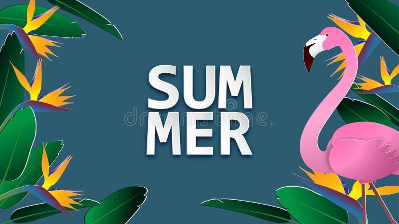 Fondo de la bandera de la venta del verano en el estilo cortado de papel Ejemplo del vector para el folleto, aviador, publicidad, libre illustration