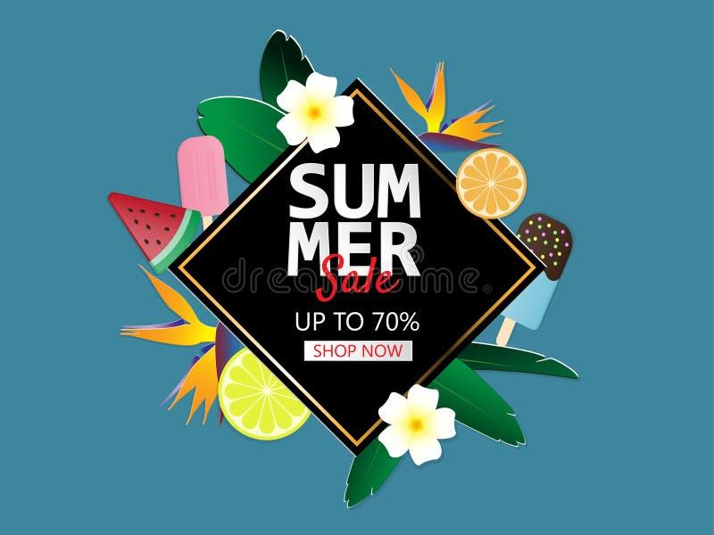 Fondo de la bandera de la venta del verano en el estilo cortado de papel Ejemplo del vector para el folleto, aviador, publicidad, stock de ilustración