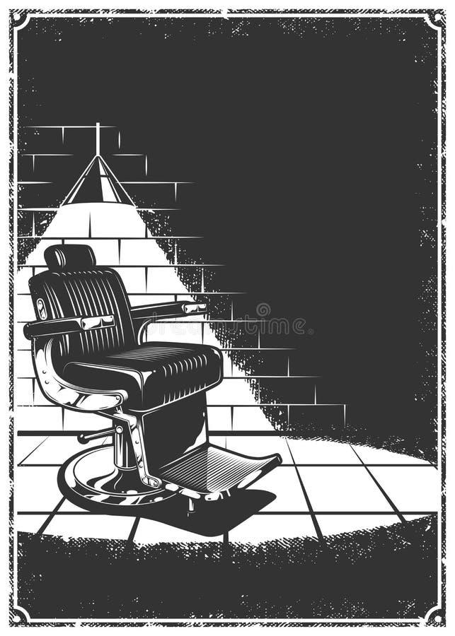 Fondo de la barbería del vintage con la silla de peluquero stock de ilustración