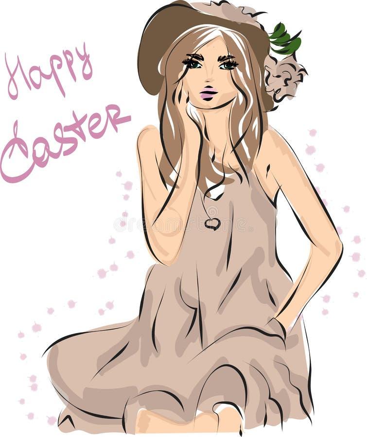Fondo de la belleza del extracto del vector Moda Pascua Muchacha en sombrero ilustración del vector