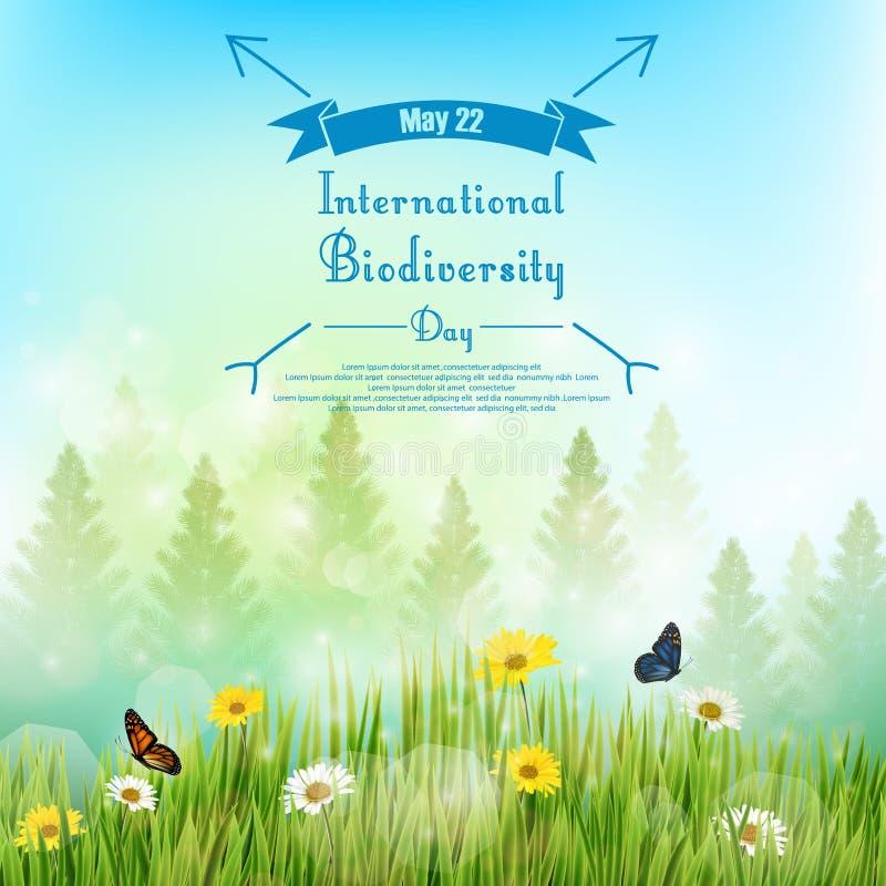 Fondo de la biodiversidad con la palmera y las flores en hierba en fondo del cielo azul ilustración del vector