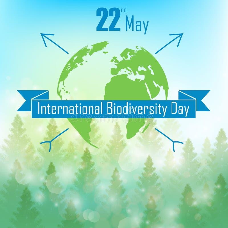 Fondo de la biodiversidad con las palmeras, la tierra de la silueta y la cinta stock de ilustración