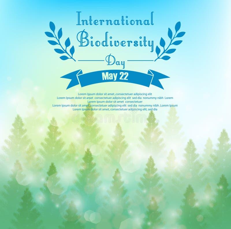 Fondo de la biodiversidad con las palmeras y la cinta ilustración del vector