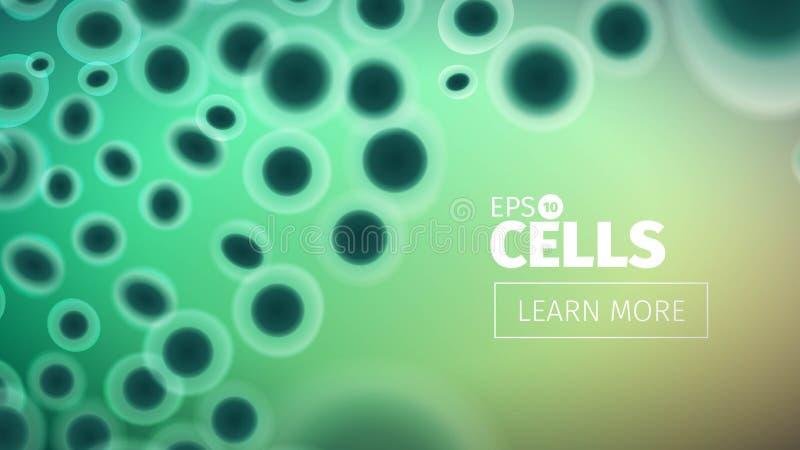Fondo de la biología Ejemplo abstracto de las células del vector Opinión del microscopio Bandera horizontal stock de ilustración