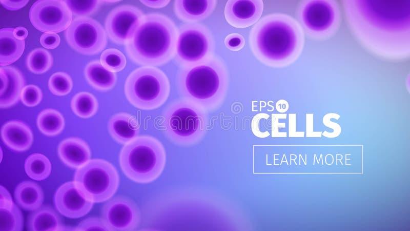 Fondo de la biología Ejemplo abstracto de las células del vector Opinión del microscopio Bandera horizontal ilustración del vector