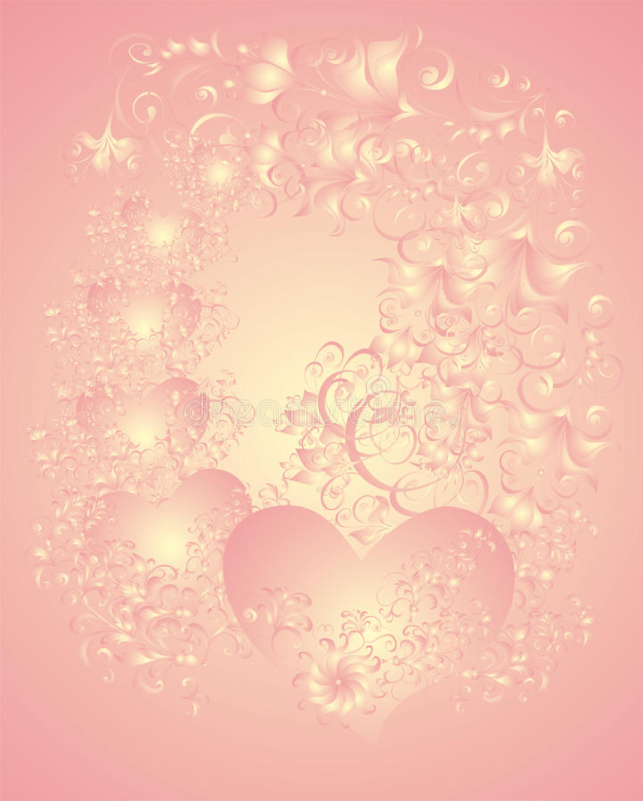 Fondo de la boda con los corazones libre illustration
