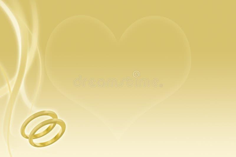 Fondo de la boda del oro con los anillos y el corazón stock de ilustración