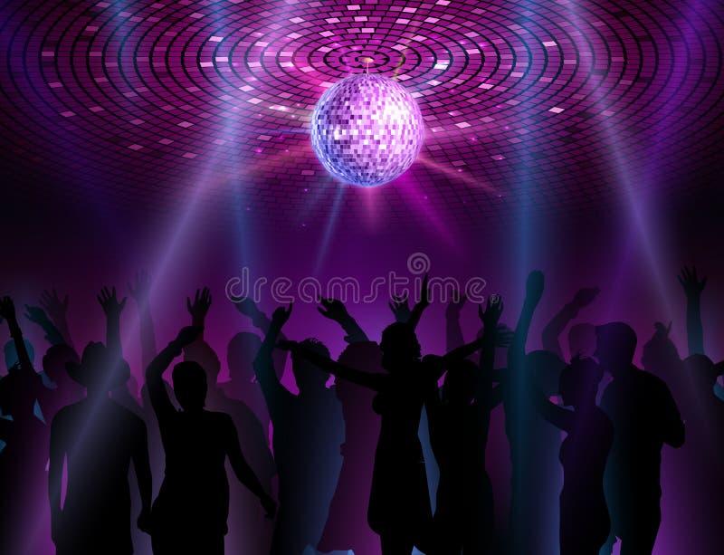 Fondo de la bola de discoteca Gente del baile stock de ilustración