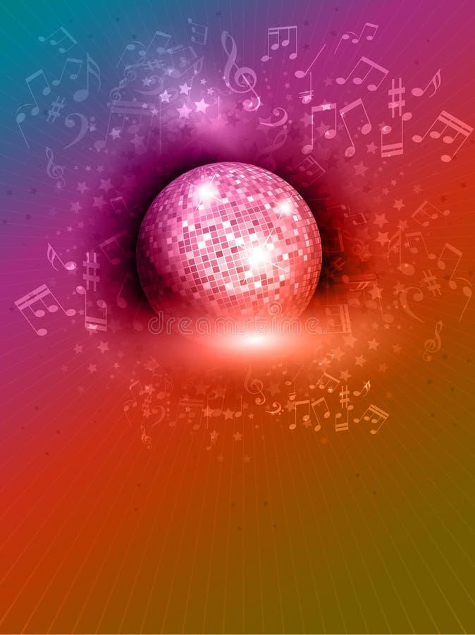 Fondo de la bola del espejo con las notas de la música stock de ilustración