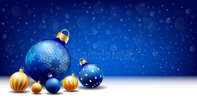 Fondo de la bola de la Navidad de la Feliz Año Nuevo que nieva, caja de la entrada de texto, fondo azul stock de ilustración