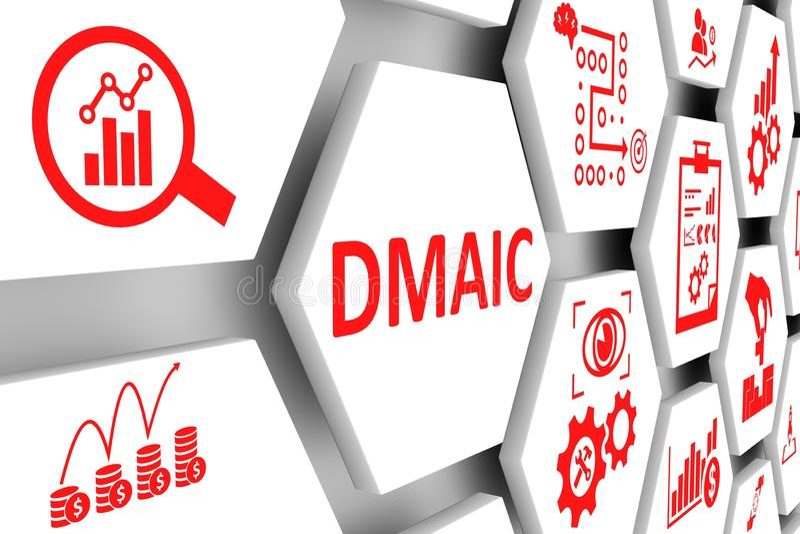 Fondo de la célula del concepto de DMAIC stock de ilustración