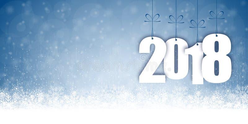 fondo de la caída de la nieve por la Navidad y el Año Nuevo 2018 stock de ilustración