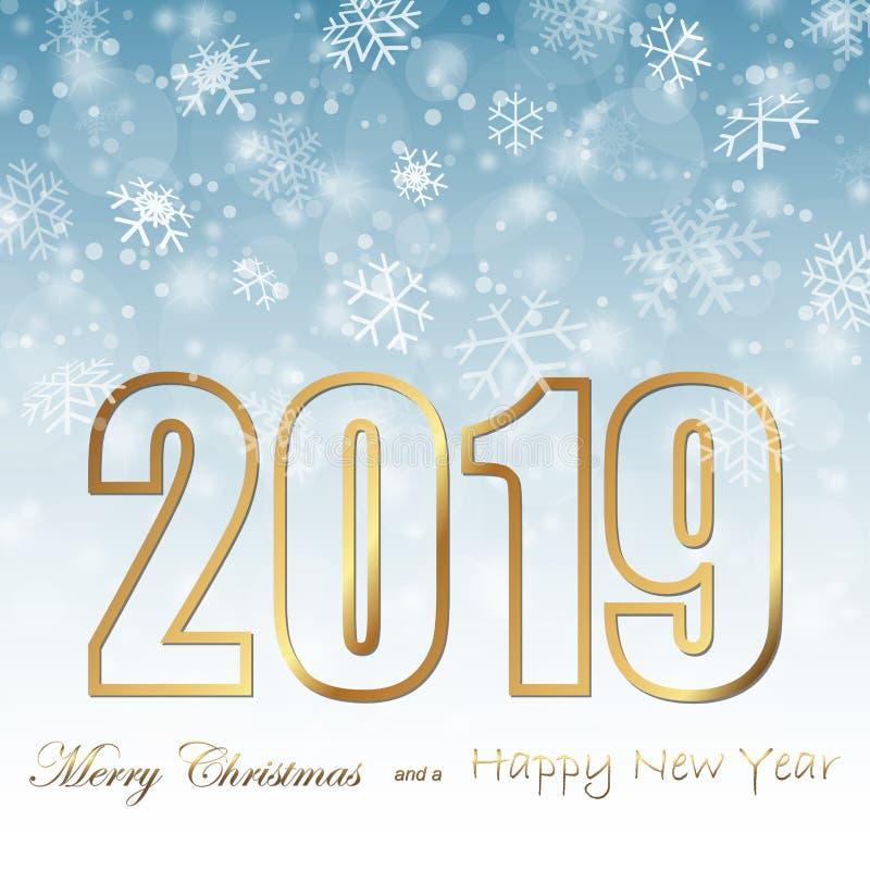 fondo de la caída de la nieve por la Navidad y el Año Nuevo 2019 ilustración del vector