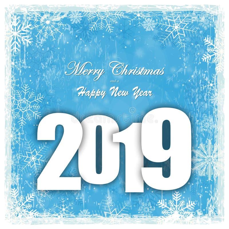 fondo de la caída de la nieve por la Navidad y el Año Nuevo 2019 stock de ilustración