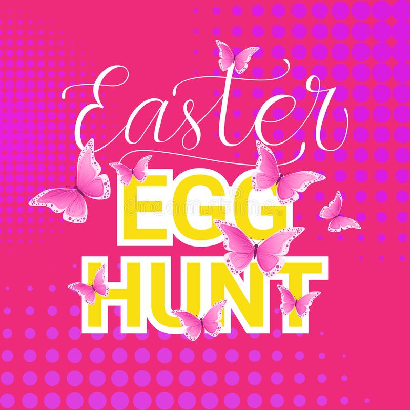 Fondo de la caligrafía de las letras de la decoración de Hunt Easter Holiday Tradition Poster del huevo ilustración del vector