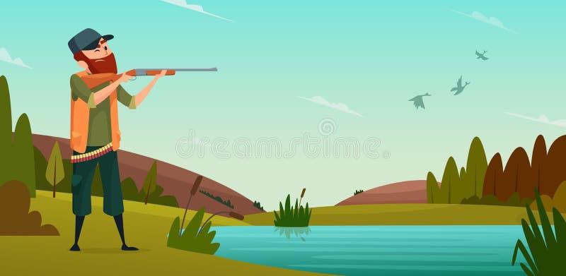Fondo de la caza del pato Ejemplo de la historieta del cazador en caza stock de ilustración