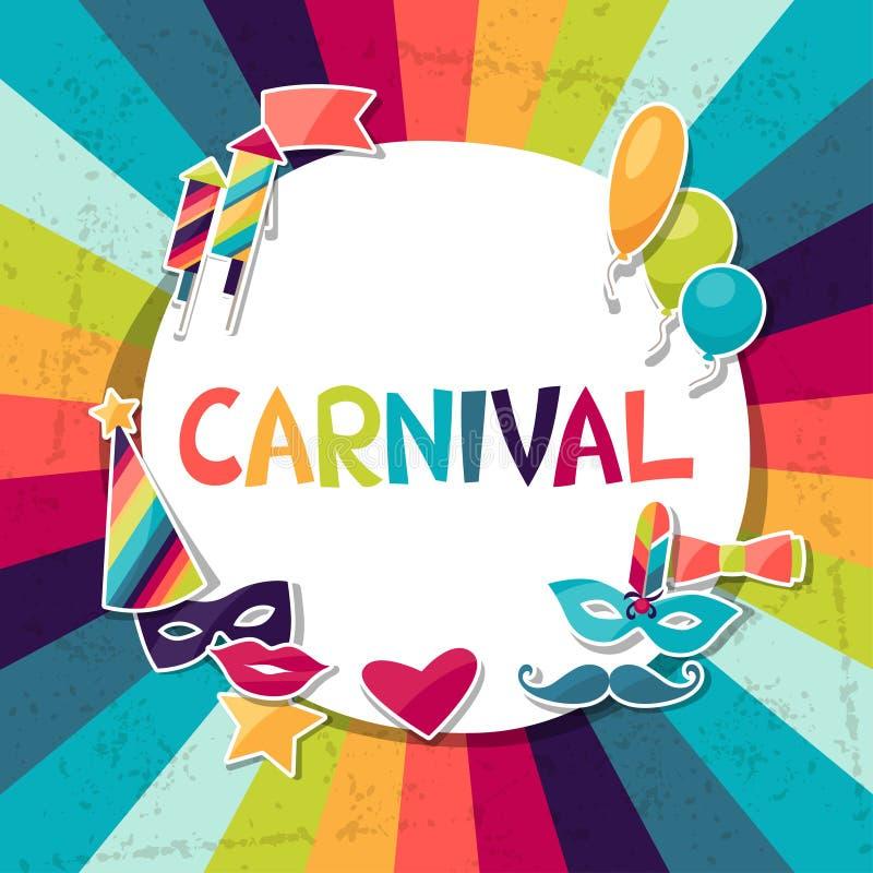 Fondo de la celebración con las etiquetas engomadas del carnaval y stock de ilustración