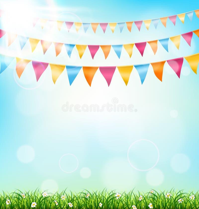 Fondo de la celebración con los empavesados hierba y luz del sol en el cielo fotografía de archivo