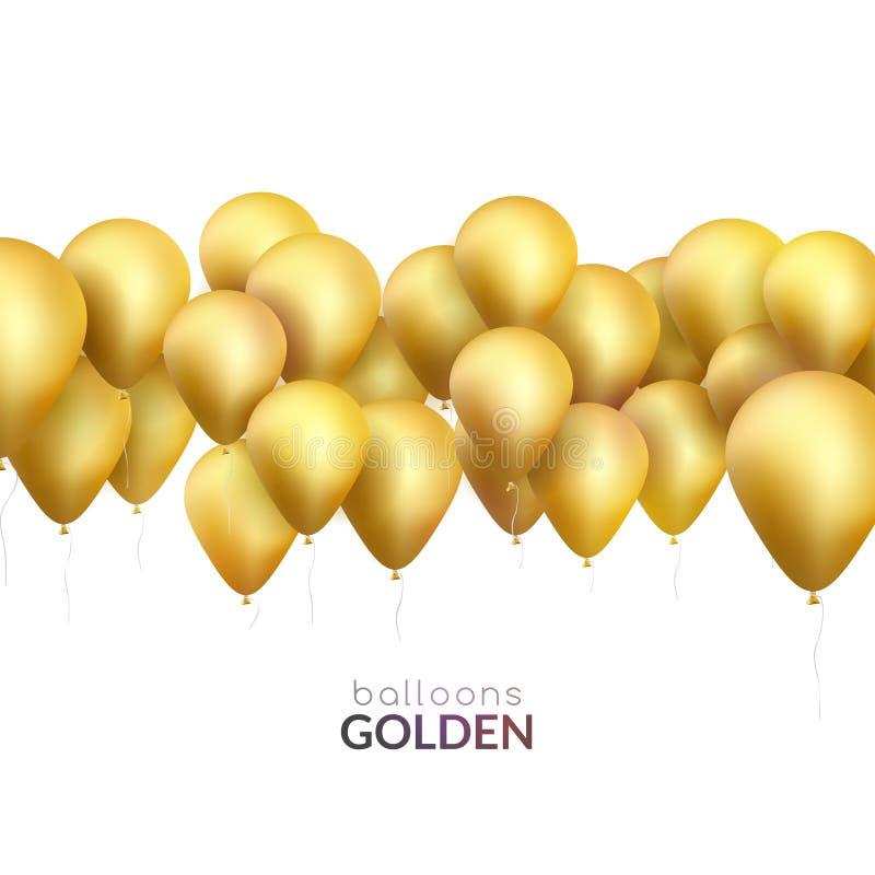Fondo de la celebración con los globos de oro Bandera del vector para la invitación del partido libre illustration