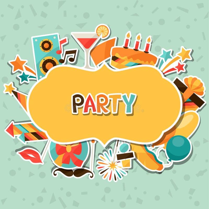 Fondo de la celebración con los iconos de la etiqueta engomada del partido stock de ilustración