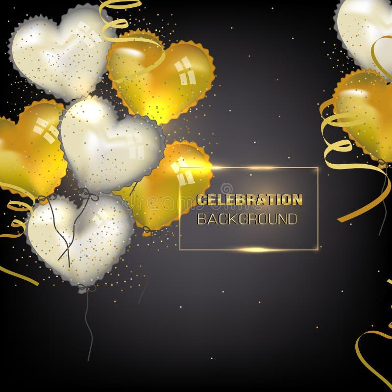 Fondo de la celebraci?n con oro y globos blancos del coraz?n libre illustration