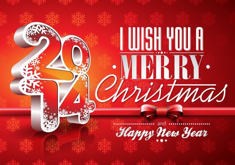 Fondo de la celebración del rojo de la Feliz Año Nuevo 2014 de VectorVector con la cinta ilustración del vector