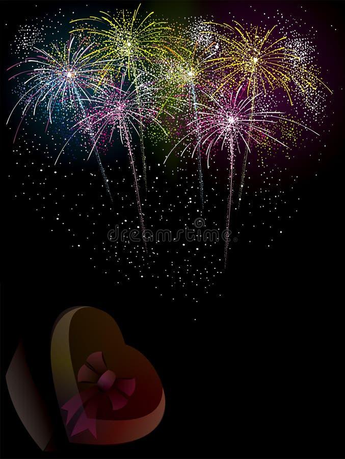Fondo de la celebración del vector de los fuegos artificiales ilustración del vector