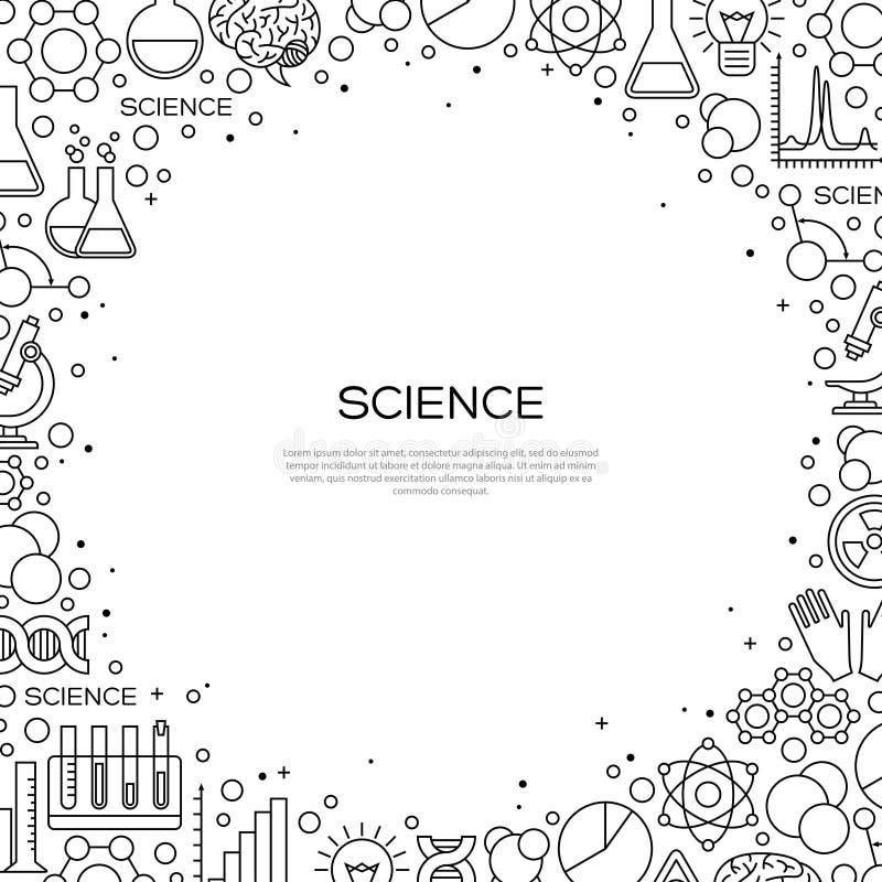 Fondo de la ciencia con la línea iconos de la química stock de ilustración