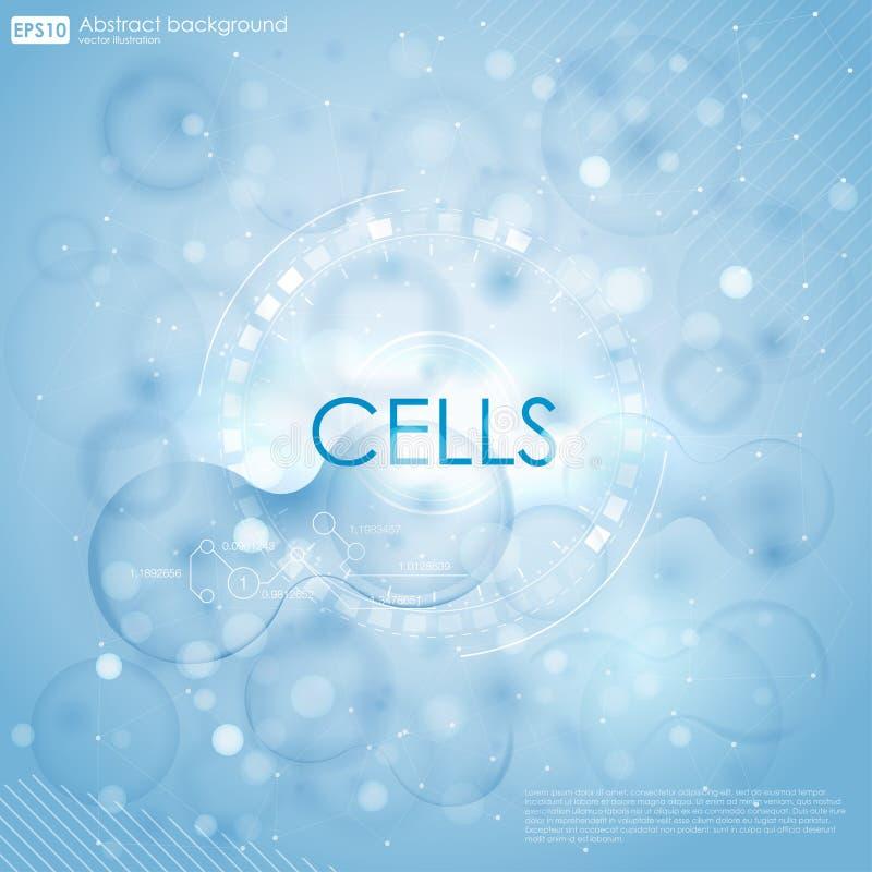Fondo de la ciencia con las células HUD Fondo azul de la célula Vida y biología, medicina científica, bacterias, moleculares ilustración del vector