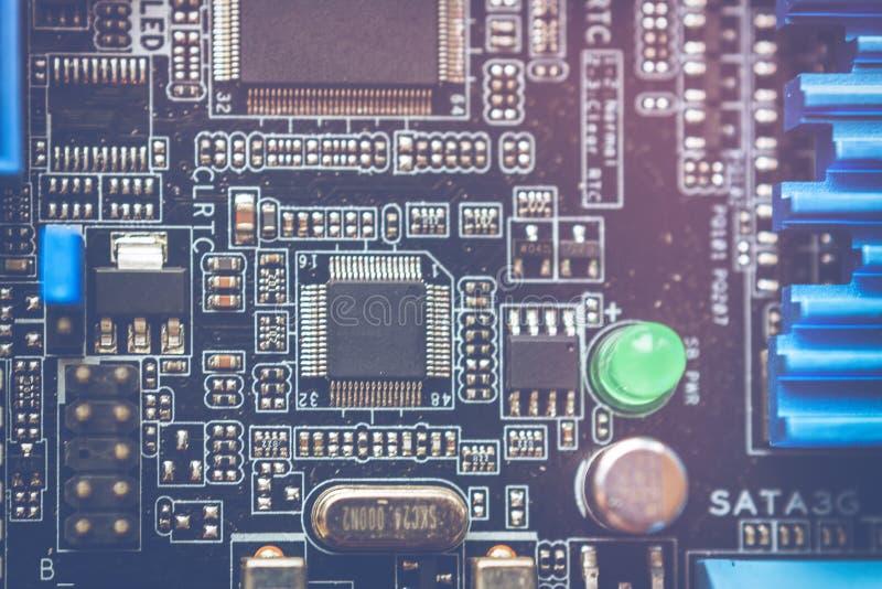Fondo de la ciencia de la tecnología Tarjeta de circuitos Tecnología electrónica del hardware imagen de archivo