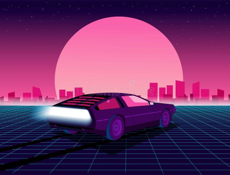 fondo de la ciencia ficción del estilo 80s con el supercar libre illustration
