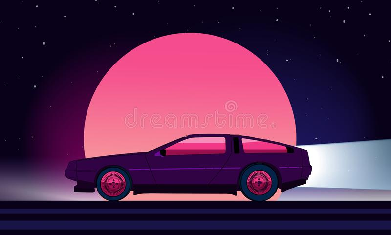 fondo de la ciencia ficción del estilo 80s con el supercar ilustración del vector