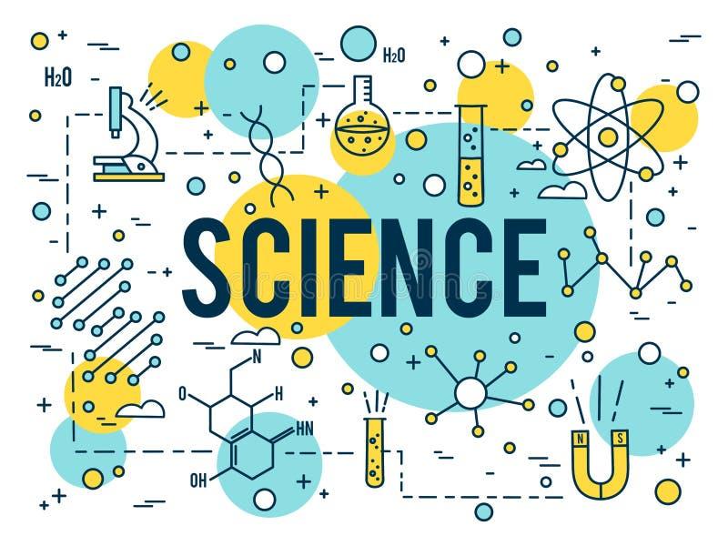 Fondo de la ciencia Icono del esquema de la investigaci?n Biotecnología y elementos médicos Línea minúscula vector del concepto l ilustración del vector