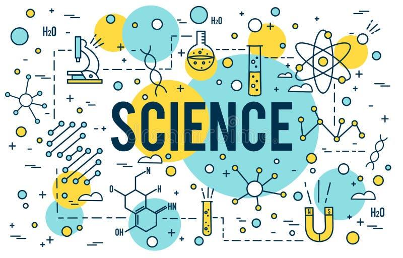 Fondo de la ciencia Iconos del esquema de la investigación Biotecnología y elementos médicos Línea linear vector del TRONCO del c libre illustration