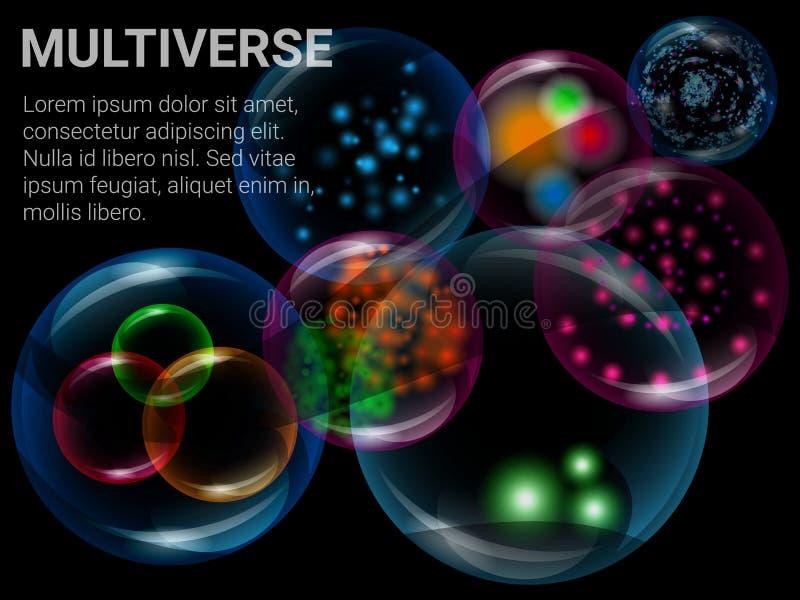 Fondo de la ciencia de Multiverse stock de ilustración