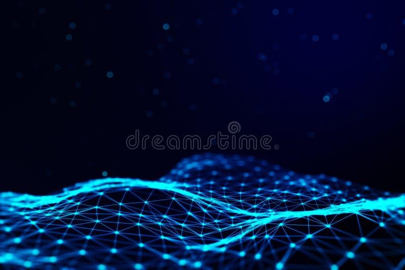 Fondo de la ciencia de la tecnología de la información de los gráficos de ordenador del plexo Líneas y puntos conectados imagen de archivo libre de regalías